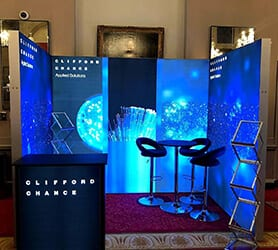 3 Sided BrightWall Backlit Fabric Exhibition Stand from Nomadic Display