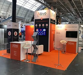 Attivo Exhibition Stand produced by Nomadic Display Exhibition Solutions