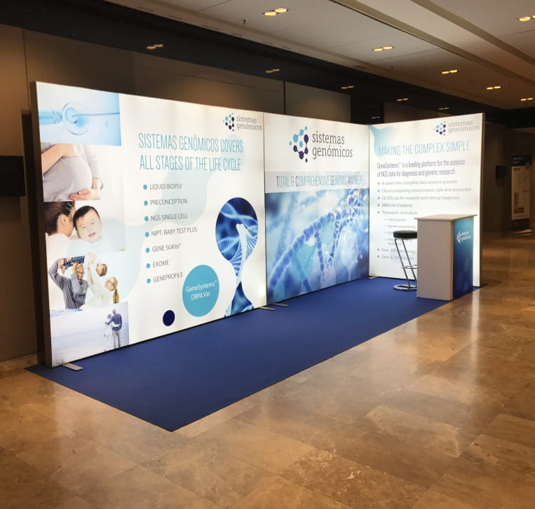 Island LED backlit Exhibition Stand produced by Nomadic Display